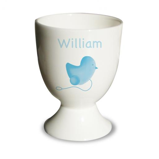 Personalised Boy Egg Cup Blue Chick Design