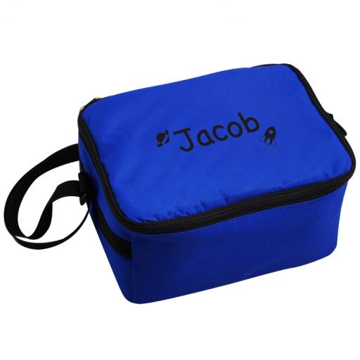 Personalised Boys Blue Black Rockets Motif Lunch Bag