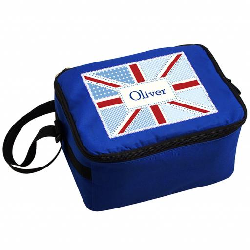 Personalised Child's Blue Patchwork Union Jack Lunch Bag