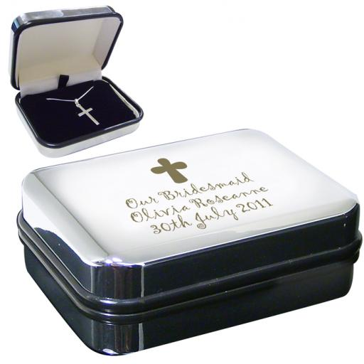 Sterling Silver Cross Necklace & Personalised Engraved Box with Cross Motif