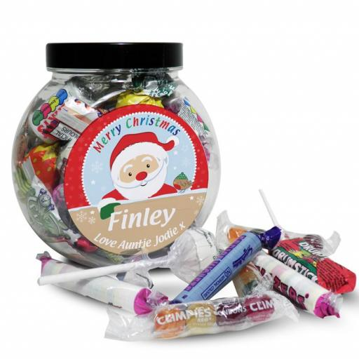 Personalised Merry Christmas Santa Round Sweet Jar