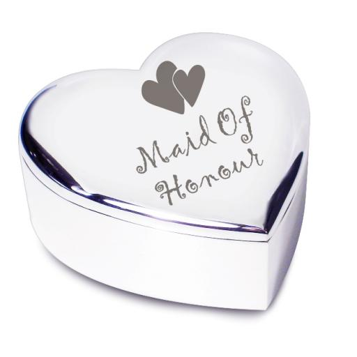 Maid of Honour Heart Trinket Box Heart Motif