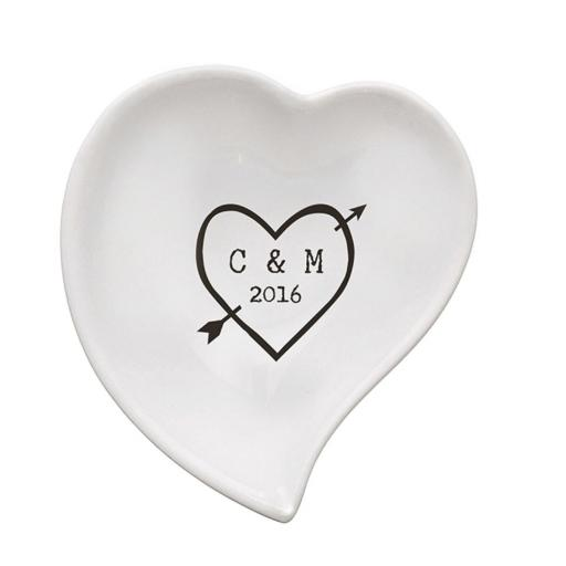 Personalised Heart Wood Carving Ceramic Ring Dish