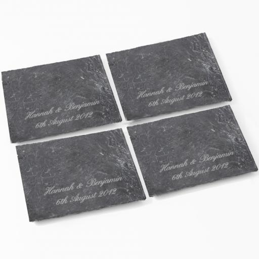 Personalised Script Engraved Pack 4 Slate Coasters