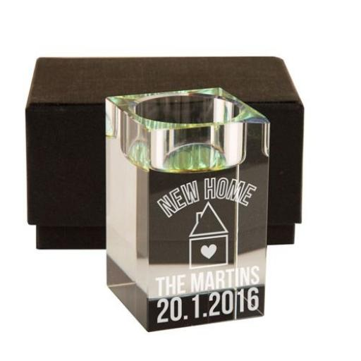 Personalised New Home Glass Tealight Holder
