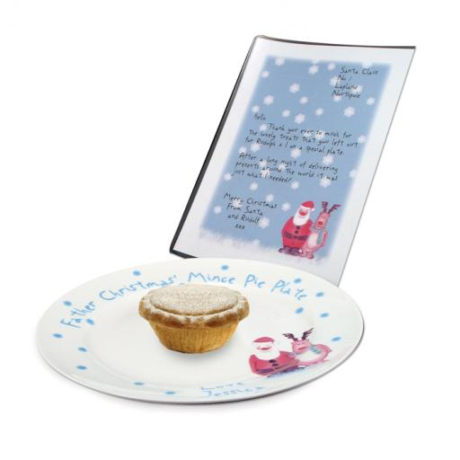 Personalised Snow Scene Mince Pie Plate and Letter