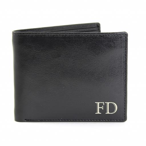 Personalised Initials Black Leather Wallet