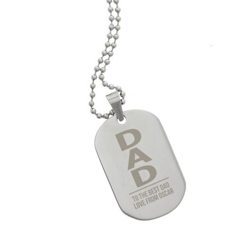 Personalised Men's Dad Stainless Steel Dog Tag Necklace