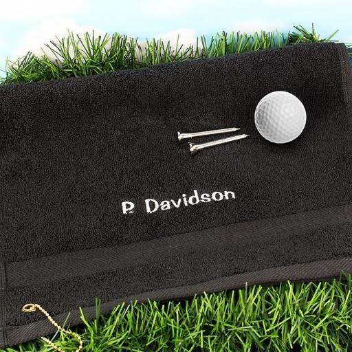 Personalised Golf Black Hand Towel