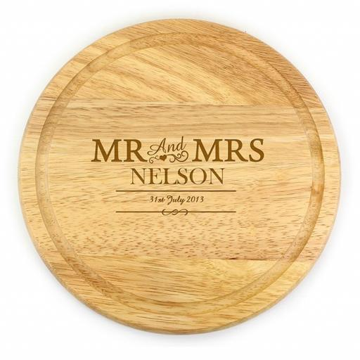 Personalised Wooden Mr & Mrs Engraved Round Chopping Board