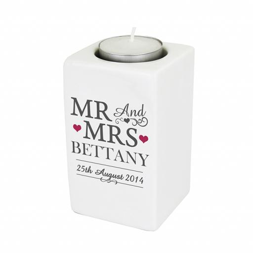 Personalised Mr And Mrs Ceramic Tealight Candle Holder