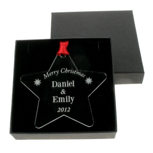 Personalised Christmas Acrylic Star Hanging Decoration for Couples