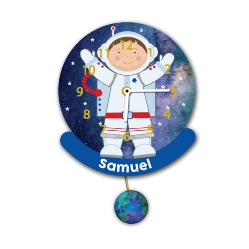 Boys Personalised Astronaut Space Man Quartz Wall Clock Pendulum