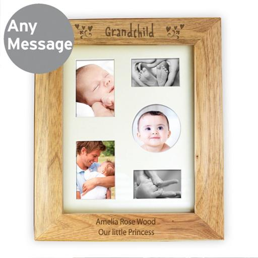 Personalised 10x8 Grandchild Wooden Portrait Photo Frame