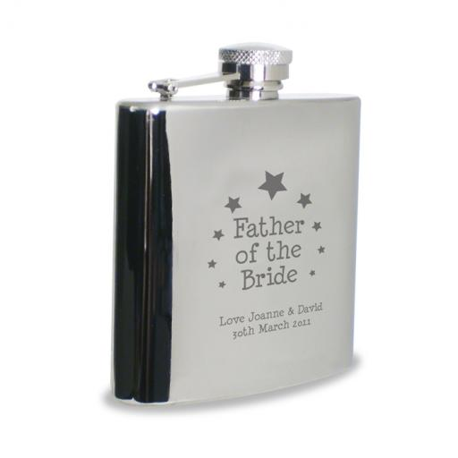 Personalised Father of the Bride Engraved 6 oz Stainless Steel Hipflask Star Motif
