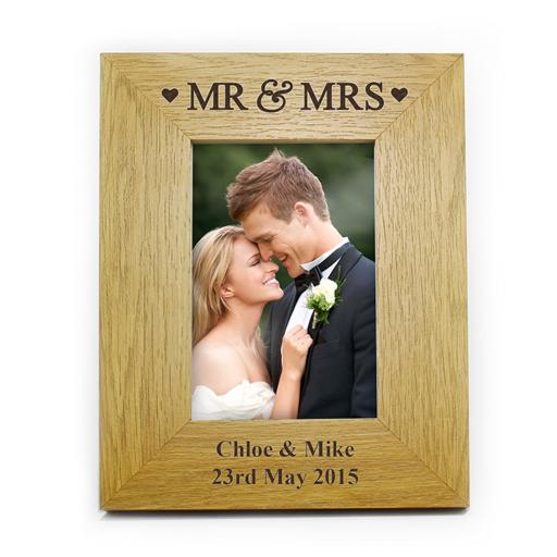 Personalised 6x4 Mr & Mrs Wooden Frame
