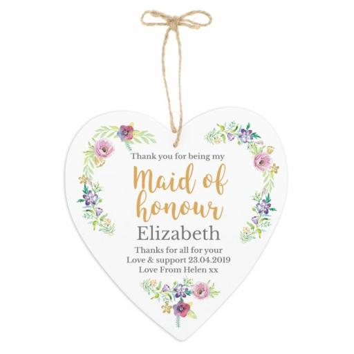 Personalised Floral Watercolour Maid of Honour Wedding 22cm Large Wooden Heart Decoration