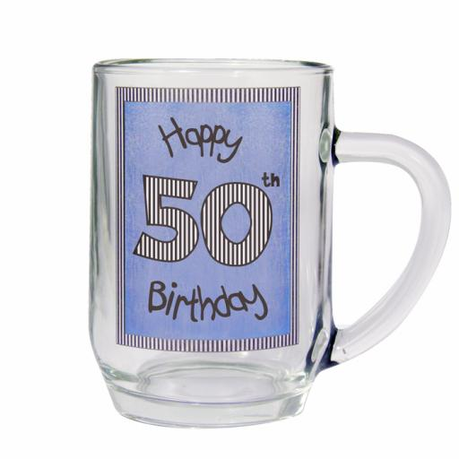 Blue 50th Happy Birthday Tankard Glass