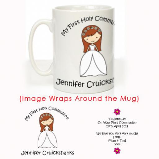 Personalised First Holy Communion Mug Girl Design