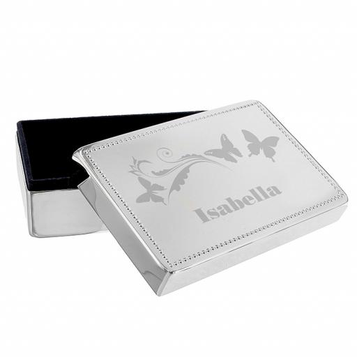 Personalised Butterfly Swirl Rectangle Jewellery Box