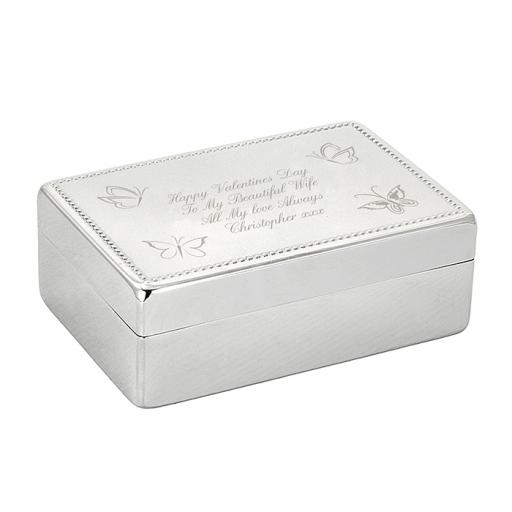 Personalised Butterfly Engraved Rectangular Jewellery Box