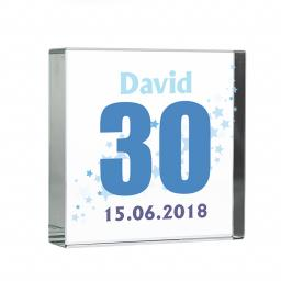 Personalised Blue Age and Stars Glass Block