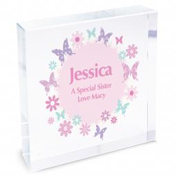 Personalised Butterfly Flowers Glass Block