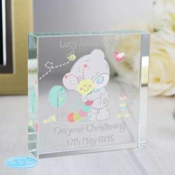 Personalised Tiny Tatty Teddy Cuddle Bug Glass Block