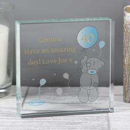 Personalised Me To You Blue Balloon Glass Block