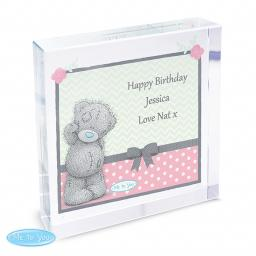 Personalised Me To You Pastel Dot Glass Block