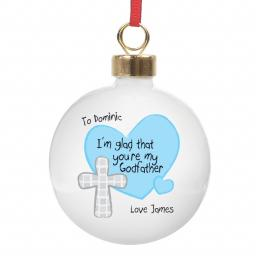 Personalised Christmas Tree Bauble Godfather