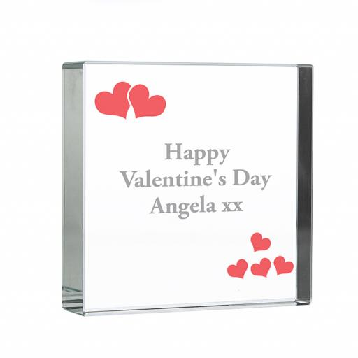 Personalised Red Hearts Glass Block