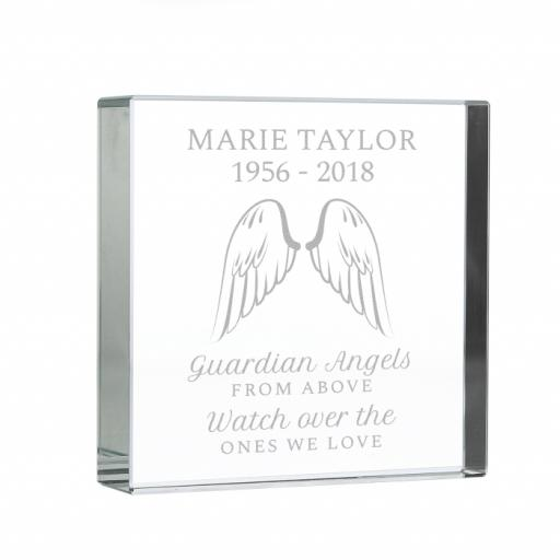 Personalised Angel Wings Glass Block