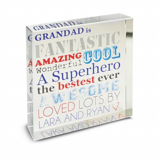 Personalised He Is Glass Block