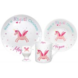 Personalised Unicorn Magical Christmas Breakfast Set