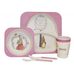 Personalised Flopsy Rabbit Bamboo Breakfast Set
