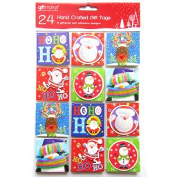 24 Cute Hand Crafted Christmas Peel & Stick Gift Tags - 6 Designs
