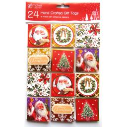 24 Traditional Hand Crafted Christmas Peel & Stick Gift Tags - 6 Designs