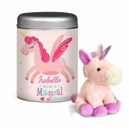 Personalised Magical Christmas Unicorn Teddy & Tin