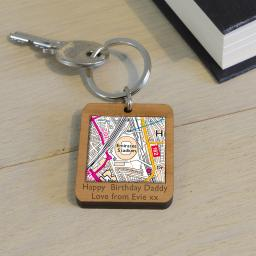 Personalised Wooden Arsenal-Emirates Stadium Map Keyring