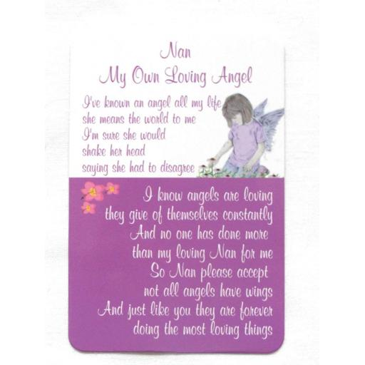 Mini Plastic Keepsake Card - Nan My Own Loving Angel
