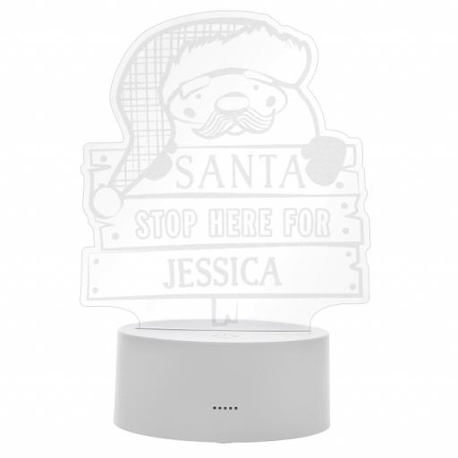 Personalised Santa Stop Here LED Colour Changing Wire Frame Night Light