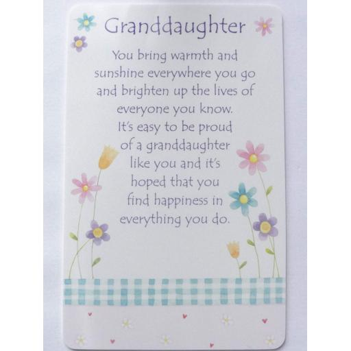 Mini Plastic Keepsake Card - Granddaughter