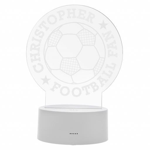 Personalised Football LED Colour Changing Wire Frame Night Light