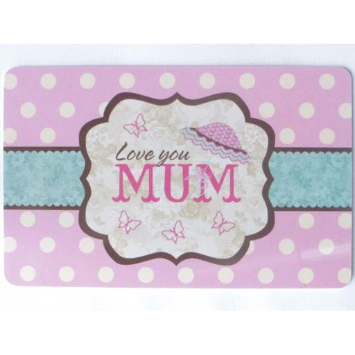 Mini Plastic Keepsake Card - Love You Mum