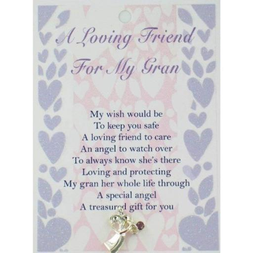 Angel Lapel Pin with Inspirational Verse - A Loving Friend for My Gran