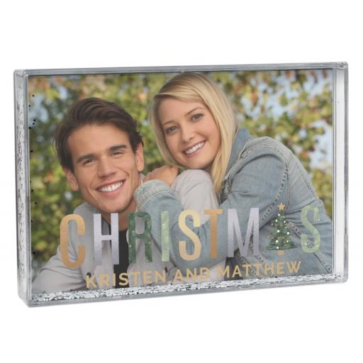 Personalised Christmas 4x6 Landscape Glitter Shaker Photo Frame
