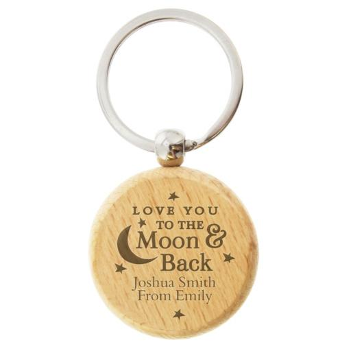 Personalised Wooden To the Moon and Back Keyring