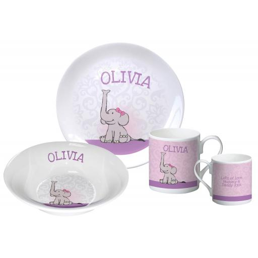 Personalised Elephant Breakfast Set Pink