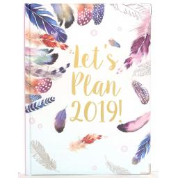 2019 A4 Year Planner Diary Feathers